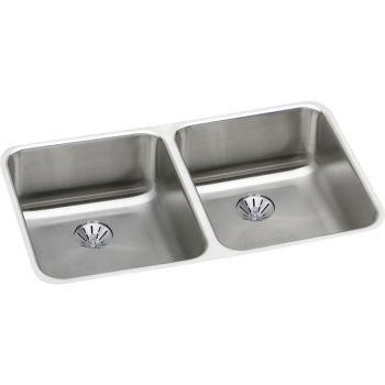 Elkay ELUHAD311845PD 18 Gauge Stainless Steel 30.75 x 18.5 x 4.375 Double Bowl Undermount Kitchen Sink Kit by Elkay (Elkay Undermount Kitchen Sink)