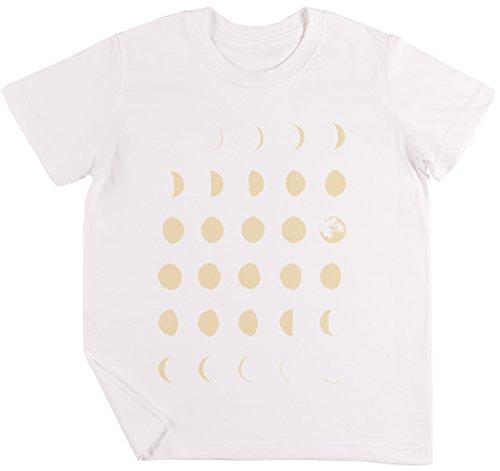 Mond Phasen Kinder Jungen Mädchen Unisex T-Shirt Weiß