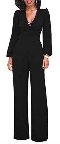 Foluton Damen Elegant Stilvoll Overall Jumpsuit Lang Einteiler mit Bandage V-Ausschnitt Langarm Höhe Taille Hosenanzug Party Festlich Playsuit Schwarz