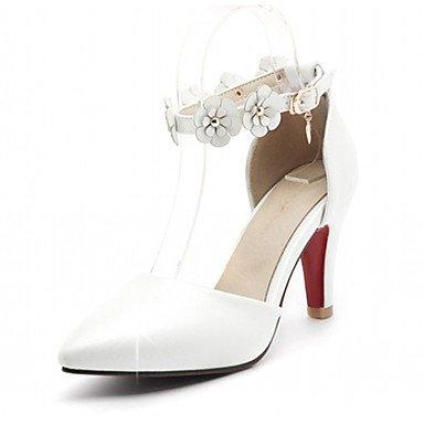 Talloni delle donne Primavera Autunno Dress Comfort in similpelle ufficio & carriera Stiletto Heel Casual Buckle Fiore Nero Oro Rosa Bianco Verde White