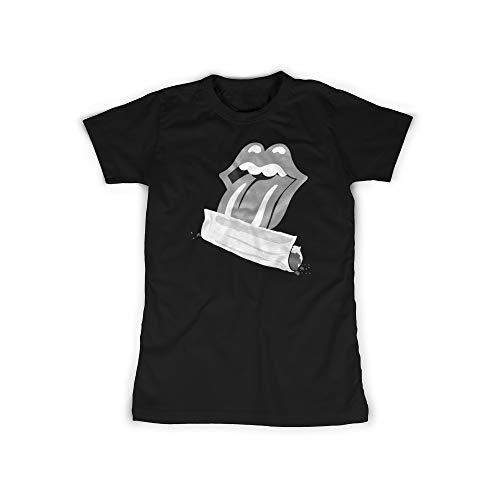 licaso Frauen T-Shirt mit Roll-up Cigarette Aufdruck in Black Gr. XS Zigarette, Lecken Design Mädchen Top Damen Shirt Frauen Basic 100% Baumwolle Kurzarm -