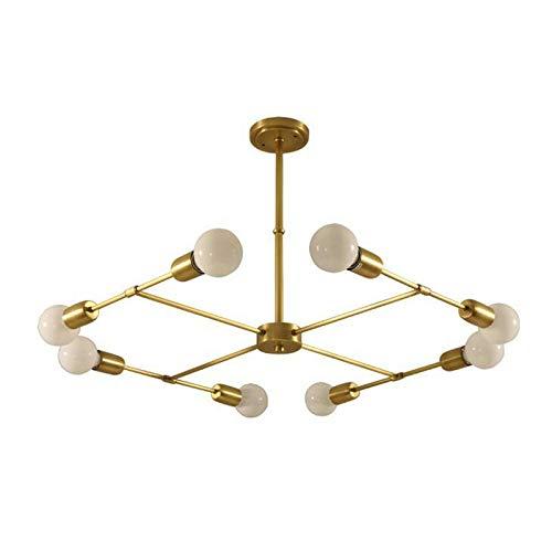 8 Light Halogen Kronleuchter (DIEJUE 8 Lights-Modern Sputnik Kronleuchter Pendelleuchte Aus Gebürstetem Messing Mid Century Gold Deckenleuchte Für Flur Bar Küche Esszimmer, Gold)