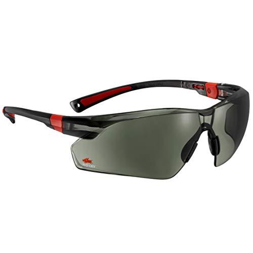 NoCry Sonnen-Schutzbrille mit grün getönten, kratzbeständigen Gläsern, Seitenschutz und Rutschfesten Bügeln, 400 UV-Schutz, verstellbar, schwarz roter Rahmen