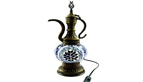 Handgefertigte Orientalisch Türkisch Asiatisch Mosaik Tisch Lampe Nachttischlampe Beistelllampe Handarbeit Mosaik Glas Tischlampe Kanne (Blau-Silber)
