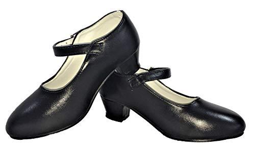 Zapatos de Flamenco, Sevillanas, Danza, Baile, para niña o Mujer. Color Negro. (40 EU, Negro)