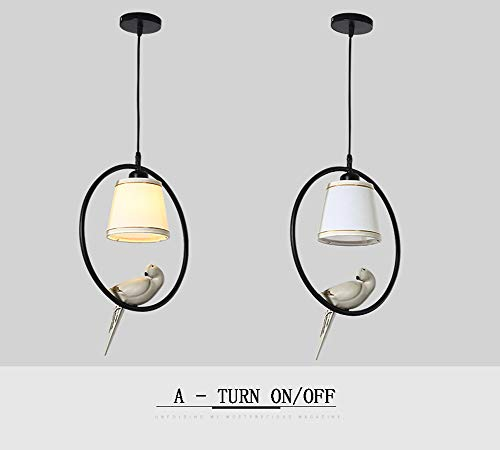 LED Rundring Klassische Eisen Kronleuchter, Chinesischen Stil Vogel Dekoration Tuch Lampenschirm Pendelleuchte Leuchte für Flur Gang Restaurant Eingang-A -