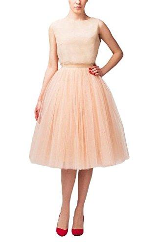 Bridal_Mall Mujer Midi mullido Tüll Tutu-Rock crinolina enagua Hoopless (One Size, Champagne Luz)