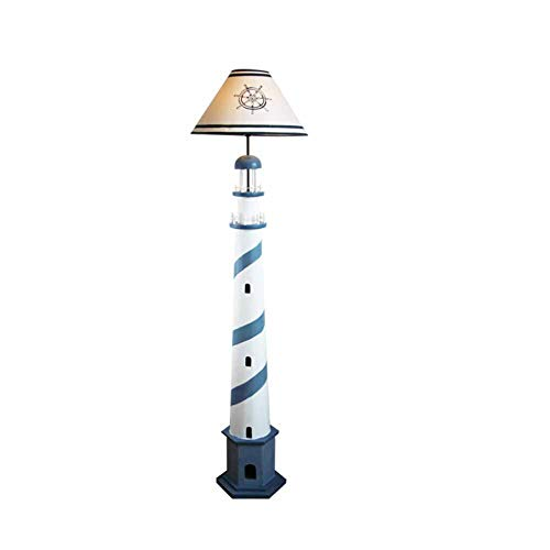 DECORATZ Mediterraner Stil Massivholz-Fußboden-Lampe, Stehen Leselicht, weicher Augenschutz, Leinen Lampshade für Kinder Schlafzimmer, Arbeitszimmer Schreibtisch Tischlampe-Blue -