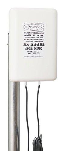 Theta Communication 48dBi MIMO - Antena de Panel direccional para Huawei  ZTE Vodafone E3276 E3272 E3372 E5180 E5377 LTE 4G 3G CRC9 (2 x 10 m)