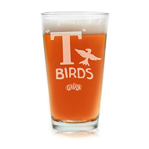 Filme auf Glas - T-BIRDS Grease Film Musical Gravur Logo Pint Bier Glas