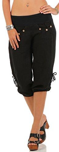 Malito Damen Capri Hose aus Leinen | Stoffhose in Unifarben | Freizeithose für den Strand | Chino - Kurze Hose 6302 (schwarz, XL)
