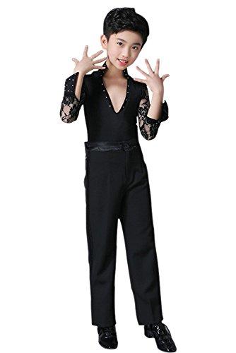 Kinder Jazz Tanz Kostüm - KINDOYO Jungen Mode V-Kragen Latein Tanz Kostüme Kinder Performance Klassiker Tanzen Spitze Hemd Jazz Outfits , Schwarz , 180/Geeignete Höhe:165-170cm
