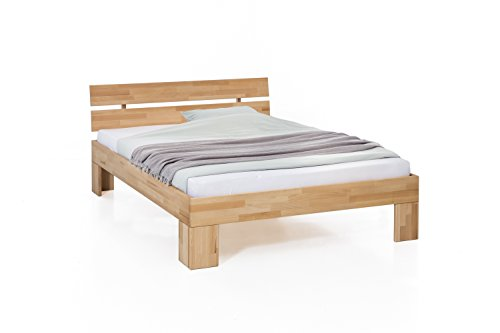 guenstiges doppelbett Unbekannt Massivholz-Bett Nano 180 x 200 cm aus Kernbuche, Doppelbett, als Ehebett verwendbar, inkl. Rückenlehne, 1 Bett á 180 x 200 cm