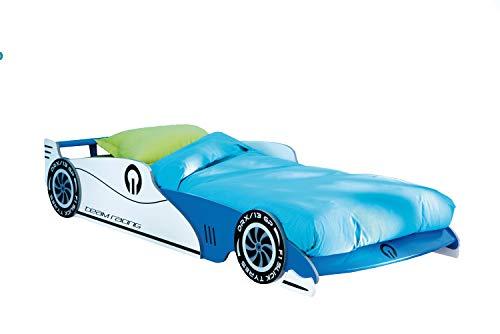 Autobett Leon mit Rollrost 14 Latten Blau 90 * 200 Kinderzimmer Kinderbett Autorennbett Rennautobett Jugendliege Bettliege Einzelbett Spielbett