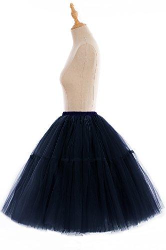 Babyonline Damen Tüllrock 5 Lage Prinzessin Falten Rock Tutu Organza Petticoat Ballettrock Unterrock Pettiskirt Dunkel Blau
