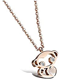 Asma Cute Titanium Steel 18k Rose Gold Plated Tiny Monkey Pendant Neclace For Women
