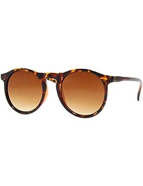 Cheapass Gafas de Sol Redondas Marrón de Diseñador Inspiradas Sheny Leo PrintCafes Unisex