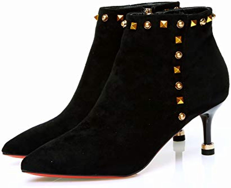JYSSYLZH Talons Hauts Rivet Sexy Rouge souligné souligné souligné Chaussures de Mariage Chaussures de Demoiselle d'automne et Les... e56805