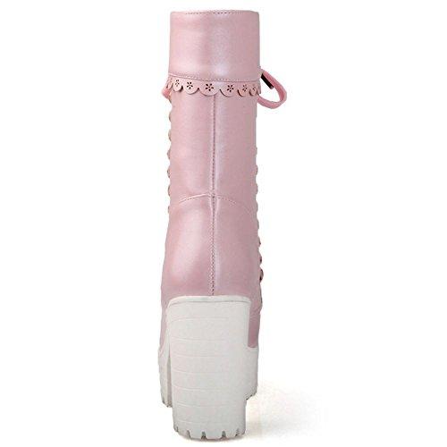 TAOFFEN Femmes Bottines Automne Hiver A Lacets Plateforme Bloc Talon Haut pink