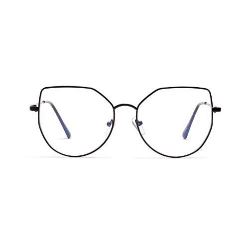 WULE-RYP Polarisierte Sonnenbrille mit UV-Schutz Cat Eye Metall Retro Brille Polygon klare Linsengläser. Superleichtes Rahmen-Fischen, das Golf fährt (Farbe : Shiny Black)