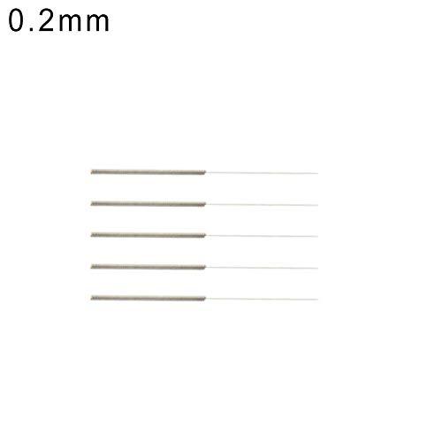 Huhuswwbin - Juego de 5 agujas de limpieza para impresora 3D (0,15/0,2/0,25/0,3/0,35/0,4 mm, 0,4 mm), color plateado, 0.2mm (Silver), 1