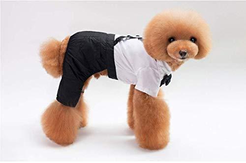 PZSSXDZW Haustieranzug Kleid Hund Gentleman Hochzeitskleid Fliege Overall Hundebekleidung White...