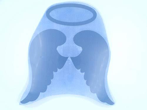 Bügelbild, Motiv: Engelsflügel mit Heiligenschein, Größe: 19x21,5cm, Farbe: dunkelblau, heißsiegelfähige Flockfolie auf Basis von Viskosefasern (Heiligenschein Engelsflügel Und)