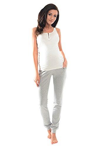 Purpless Damen Schwangerschafts Jogginghose Umstands-Sporthose Schwangerschaftshose mit Bauchband Umstandsmode 1307 (38, Light Gray Melange)