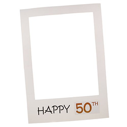 MagiDeal Photo Booth Props Papier Bilderrahmen Dekorahmen für 40. und 50. Geburtstag Jahrestag Party Feier - Happy 50th