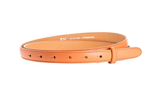 Gürtel Leder 20mm Orange Glatt - Gürtelriemen Aus Rindsleder Mit Naht In 2 CM Breite - Ledergürtel Aus Echt Leder Ohne Schnalle - Gürtellänge 95cm (Peach Anzug Rock)