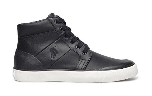 Ralph Lauren Polo Isaak High Top Herren Sneaker Leder Black (44 EU/10 UK)