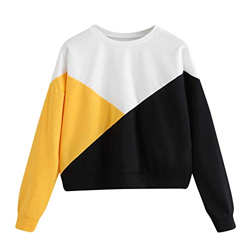 Lonshell Femme Sweatshirt Pull Sweat Color Block Pull Bloc de Couleur Tops Casual Pullover Patchwork Blous
