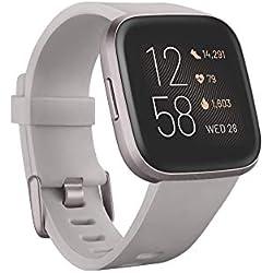 Fitbit Versa 2, el smartwatch que te ayuda a mejorar la salud y la forma física, y que incorpora control por voz, puntuación del sueño y música, Gris piedra/gris niebla - Amazon Alexa Integrado