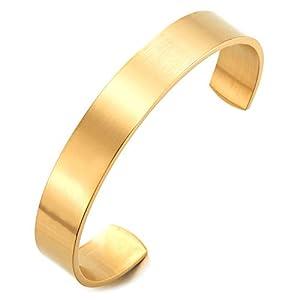 COOLSTEELANDBEYOND 19CM Klassiker Herren Damen Verstellbare Armband Armreif aus Edelstahl Farbe Silber Satiniert