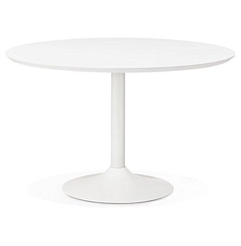 Alterego - Table à Diner/de Bureau Ronde 'BARABAR' en Bois Blanc - Ø 120 cm