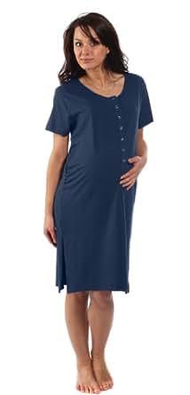 La chemise de l'accouchement bambou - Pour la grossesse, du travail, l'allaitement et la liaison - Bleu Minuit - Moyen M (Avant la grossesse Taille FR 38-40)