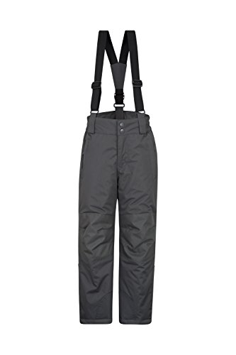 Mountain Warehouse Raptor Skihose für Kinder - Taschen, schneedichte Hose, abnehmbare Träger & Reißverschluss am Knöchel, Verstärkte Knie - Ideal für Jungen und Mädchen Dunkelgrau 164 (13 Jahre)