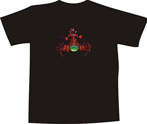 T-Shirt E014 Schönes T-Shirt mit farbigem Brustaufdruck - Comic / grüne Roboter Spinne mit langen Beinen Mehrfarbig