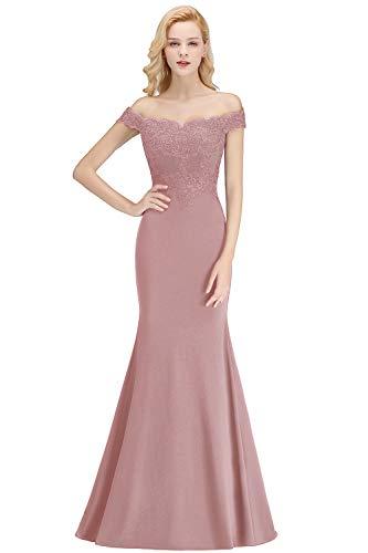 MisShow Damen Schulterfrei Meerjungfrau Ballkleid Spitzen Festkleid Stickerei Kleid lang Alt Rosa 42