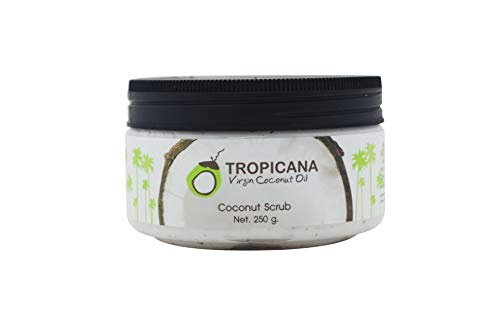 Tropicana Oil Natürliches Kokosnuss Körperpeeling 250g | mit Kokosöl, Shea Butter und Kokosnussschalen Pulver Duschpeeling | Naturkosmetik Body Scrub Männer und Frauen | Veganes Körper-Peeling