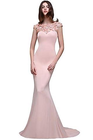 Babyonline- Damen 2017 Elegant Cap Sleeve Ballkleid Lang Tül Abendkleid Festkleid Meerjungfrau Rosa