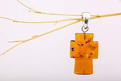 Pendentif ambre de Baltique naturel 100% avec de l'argent
