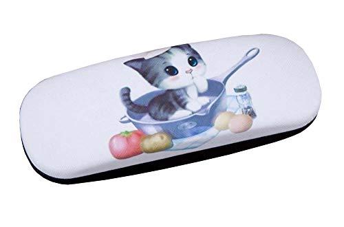 PU Leder Harte Schale Brillenetui Brillen-Aufbewahrungskoffer Schutzhülle für Gläser Vierblättriges Süße Katze - 10
