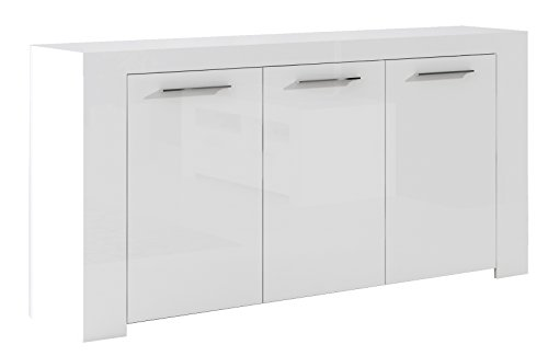 Habitdesign 006620BO - Aparador Buffet Moderno, Color Blanco Brillo, Dimensiones: 144x42x80 cm...