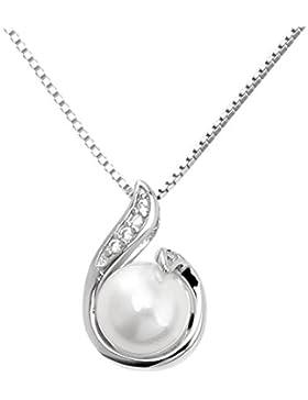 Damen Kette Perle Halskette Zirkonia Schmuck 925 Sterling Silber Herz - Form Halskette Von SANDALUP