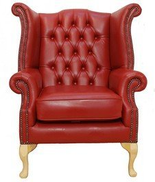 Chesterfield Queen Anne Ohrensessel, Porzellan, Rot