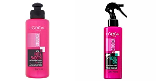 Loreal Studio Line Hot & Sleek Straight Cream And Hot & Big Volume Boosting Spray Combo (200 mL*2) 400 mL  available at amazon for Rs.1980