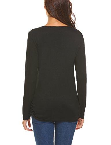 Unibelle Damen Stillshirt Umstandsmode Schwanger T-Shirt Maternity Shirt Umstandsshirt Stilltop Umstandstop Langarmshirt Schwarz