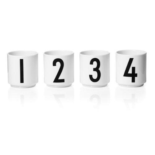 Design Letters - Espressotasse - 4 tlg. Set - Nummern: 1- 4 - Porzellan - Arne Jacobsen
