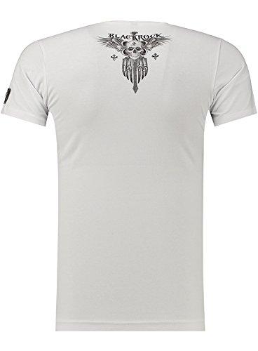 Black Rock Blackrock Herren T-Shirt Slim-Fit Totenkopf Skull Bones Adler Elasthan 70320 - WHITE
